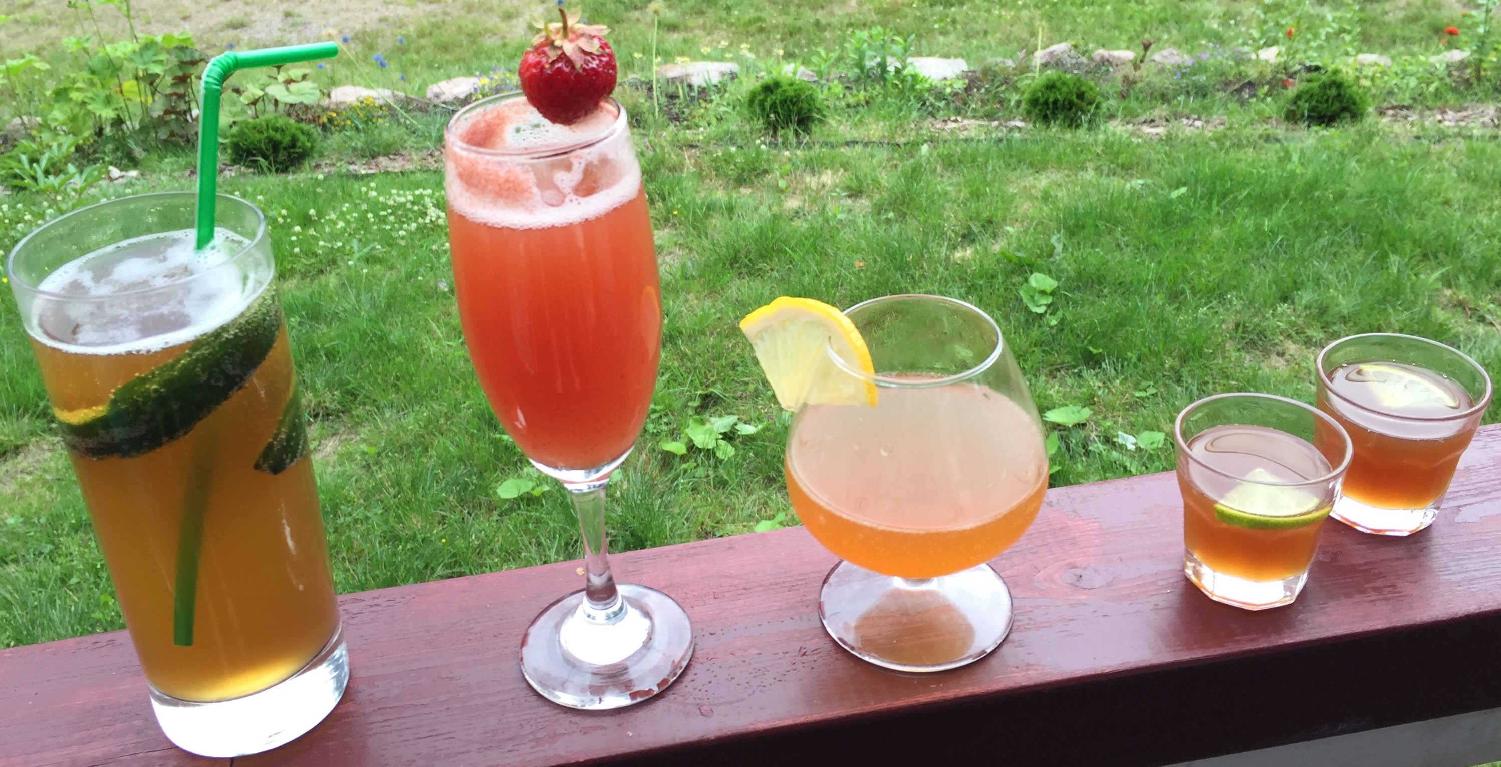 Sahticocktail á la Brewniverse: Saimaa Royale, Strawberry Sampo, Sunny Sahti, Shotiverse