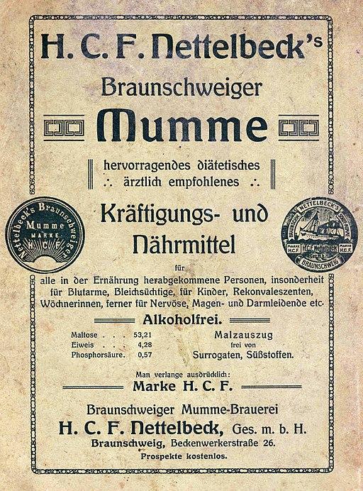 Braunschweiger Mumme Alkoholfrei 1910