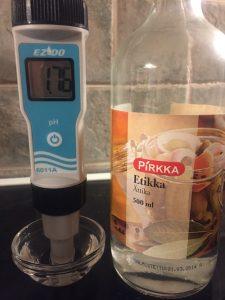pH-mittaus, Pirkka etikka 10%