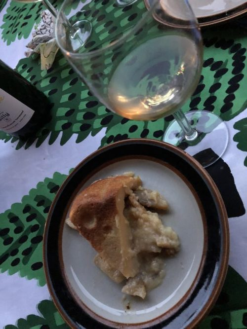 British apple cake and Valamo wine.